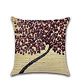 SKYyao Pillowcase Cotton, Three-Dimensional Oil Painting Pillowcase Flower Trees Cotton Hemp Cushion Cover car Sofa Holding Pillowcase 45 * 45cm