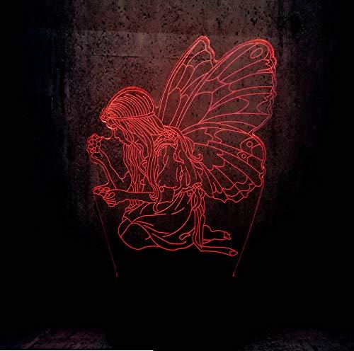 3D LED Nachtlicht Schmetterling Fee Prinz Mädchen Flügel Version Birne Lampe Farbwechsel Kind Kind Geburtstag Weihnachten