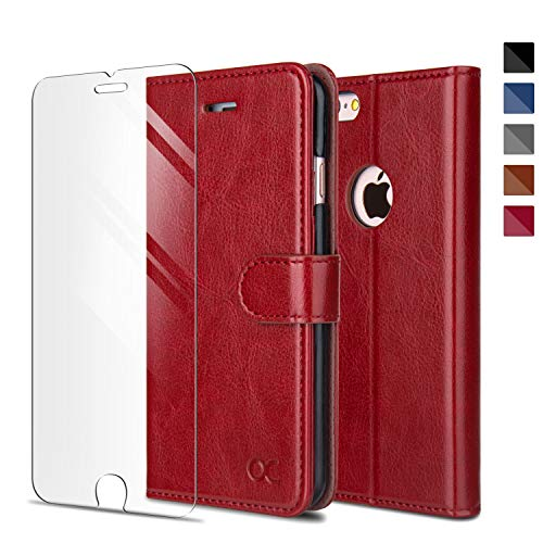 OCASE Coque iPhone 6 / 6S Porte-Carte [ Film De Protection Offert ] étui à Rabat Housse en Cuir - Rouge