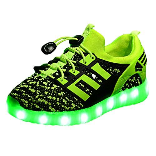 Yeeper LED Zapatillas de 7 Colores de Luces con USB de Carga Transpirables para los Niños y los Adolescentes 1832 Verde EU 34