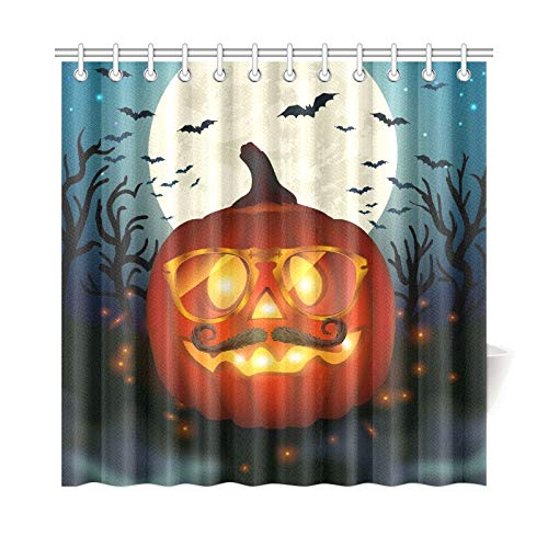 JOCHUAN Wohnkultur Bad Vorhang Halloween Hipster Kürbis Polyester Stoff Wasserdicht Duschvorhang Für Bad, 72X72 Zoll Duschvorhang Haken Enthalten