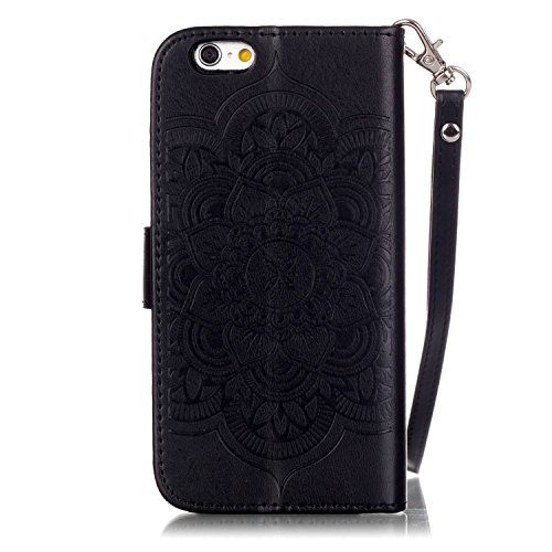 Coque Etui pour Apple iPhone 6 Plus/ 6S Plus, iPhone 6 Plus Coque Papillon Rose gaufré motif en relief Portefeuille Bling Diamant, iPhone 6S Plus Coque en Cuir Folio Etui Housse Leather Bookstyle Case Diamant Campanule-Gris