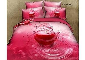 Luxe 100%  coton Motif vivid 3D CERISE fruits Motif queen Parure de lit Housse de couette pour Lit les draps, elle est d'une couleur Par lot/pc