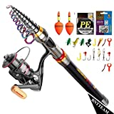 BNTTEAM 6 Set 2.1m, 2.4m, 3.0m 3.6m 99% Canna da Pesca telescopica in Carbonio e 12BB Mulinello e Esche e Linea e Ganci e galleggianti, Set Canna da Pesca (2.4M/94.5in/7.84ft)