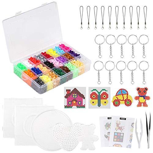 LIHAO 7000 Perline a Fusione 5mm, Perline da Stirare 24 colori 5 Pegboard per il Tempo Libero Creativo, Set Gioco Creativo Natalizio Fai Da Te per Bambini