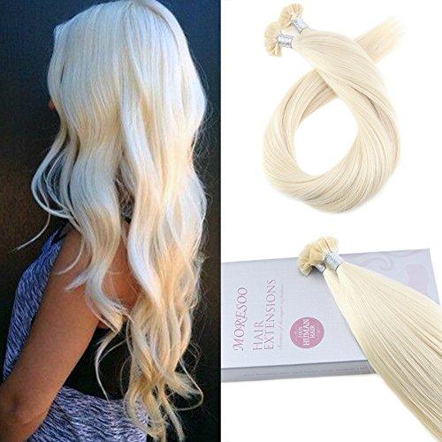 Moresoo 16 pollice platino bionda #60 lisci naturali estensione capelli veri cheratina fusion stick flat tip pre bonded brasiliani hair extension remy human hair 50g 1g/s