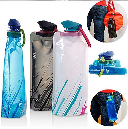 King Confezione da 3bottiglie di acqua ambientale pieghevole bollitore portatile Outdoor sport viaggio pieghevole con tappo a prova di perdite Twist 700ml