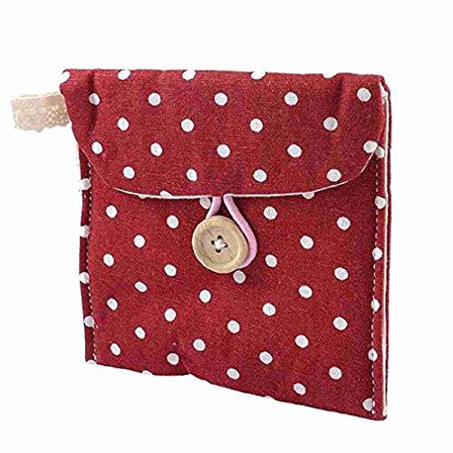 RuiChy Tasche für Slipeinlagen/Damen-Binden, aus Baumwolle, gepunktet rot
