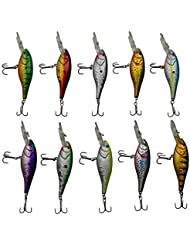 Shaddock pesca® 10pcs/lot 3d pesca línea de láser ojos duro Minnow cebos flotantes Topwater Swimbait realistas señuelos de pesca Bass Crankbait Tackle para picas/Bass/trucha/Walleye/Redfish, 10 pack Plastic Minnow Fishing Lures