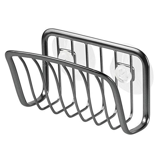 Interdesign axis porta spugne cucina con ventosa, porta spugna lavello in metallo con paglietta inclusa, nero opaco