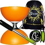Diabolo Set Cyclone (Orange) Freiläufer (mit kugellager) Dreifache Lagerung Kombi-Set mit Diablo Alu-Handstäbe und Diaboloschnur (diabolo schnur ULTRA SPIN 10m-Rolle +Reisetasche!