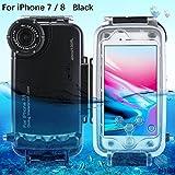 SODIAL Fuer iPhone 7/8 Unterwassergehaeuse Professional [40m/130ft] Tauchen Gehaeuse Fuer Surfen Schwimmen Schnorcheln Foto Video mit Lanyard (iPhone 7/8, Schwarz)