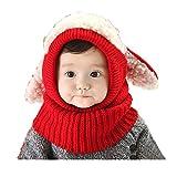 Babybekleidung Hüte & Mützen Longra Niedlich Winter Baby Kinder Mädchen Jungen Warm Woll Haube Kapuze Schal Mützen Hüte (Red)
