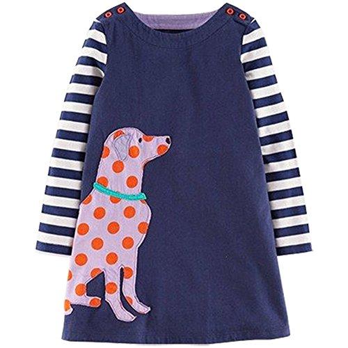 VIKITA Mädchen Baumwolle Langarm Streifen Tiere T-shirt Kleid AB1005BLUE 7T (T-shirt Europa Mädchen)