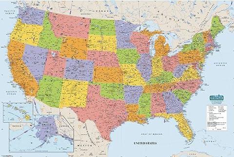 House of Doolittle Write On/Wipe Off Laminated United States Map