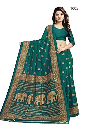 Saree center Art silk Saree with Blouse material (Green)