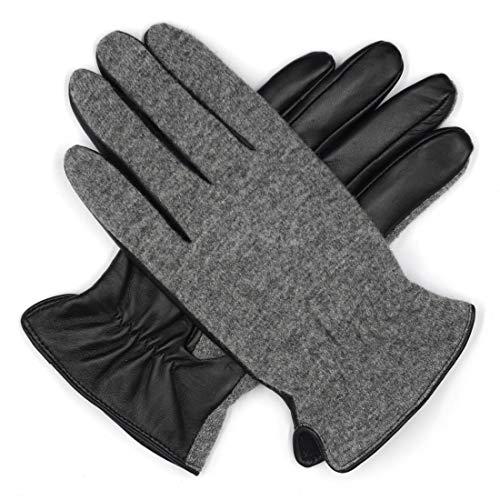 Harssidanzar lana punto hombre + guantes cuero piel