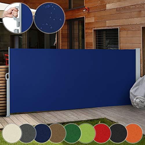 Jago Seitenmarkise Farbauswahl/Größenauswahl (160x300cm, 180x300cm, 200x300cm), für Balkon Terrasse Garten Sonnenschutz Sichtschutz Windschutz, (Blau / 160x300cm)