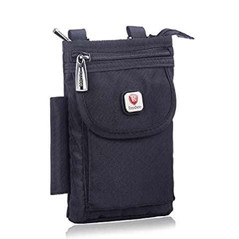 Mini Shoulder Bag Cellphone Pouch,Hengying Nylon Mobile Phone Small Cross Body Bag Belt Purse Hip Bag with 2 Zips, fits for Huawei Mate 8 9 iPhone 7 Plus Galaxy S8 Plus LG G2 G3 G4 -
