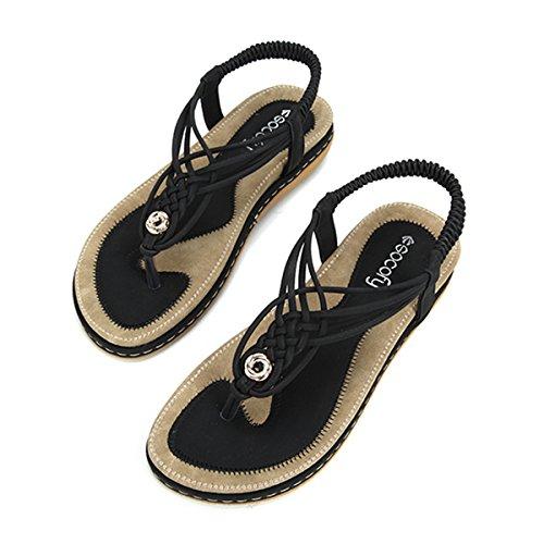 Gracosy Sandalias Planas Verano Mujer Estilo Bohemia Zapatos de Dedo Sandalias Talla Grande Cinta Elástica...