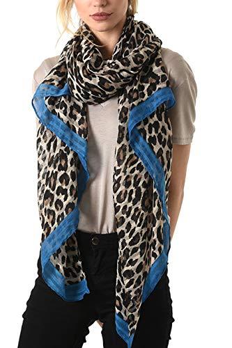 Style Slice Damen Schal Leopardenmuster - Leopard Scarf - Leoprint Rot Gelb Blau Pink Rosa - Damenschals Tuch Schals Halstuch Schultertuch - XL Oversized Stolas Frauen - Geschenk (Creme/Blau)