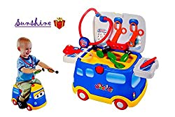Toyshine 3 in 1 Medical Vehicle Doctor Play Set Cum Ride-on with Music and Lights