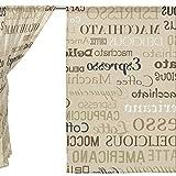 Clothes Old Navy Best Deals - jstel 2pcs Voile cortina de ventana, mano Drawn vintage café fuente, de tul pura cortina Drape cama 55x 78(dos paneles Set, poliéster, azul, 55x78x2(in)