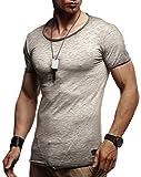 Leif Nelson Herren Sommer T-Shirt Rundhals-Ausschnitt Slim Fit Baumwolle-Anteil Moderner Männer T-Shirt Crew Neck Hoodie-Sweatshirt Kurzarm lang LN6281 Anthrazit-Verwaschen Large