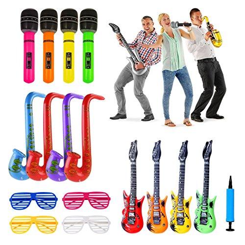 iLoveCos Aufblasbare Spielzeug Bunte LuftGitarre Saxophon Mikrofon Aufblasbar Instrumente Shutter Shades Brille Gläser Sonnenbrille Party Zubehör Set für Kinder Erwachsene Zufällige Farbe 16 Stück und 1 ps Aufblasbare Pumpe