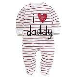 Baby Strampler,Doubleer Kleinkind Jungen Mädchen Langarm-Overall I Love Dad Mom Pyjamas