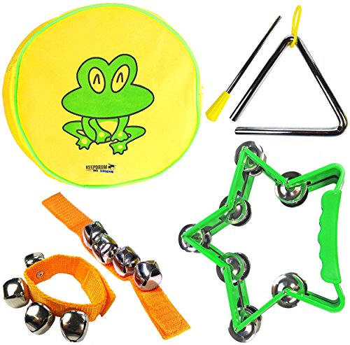 Keepdrum Percussion-Set mit Kinder-Tambourin Triangel Glocken-Armband Musik-Spielzeug