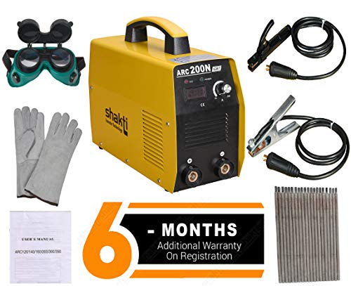 Shakti Technology Inverter Welding Machine ARC-200N with All Accessories : Cable Set, Welding Goggles, Welding Gloves, Welding Rods - 6 Months Warranty