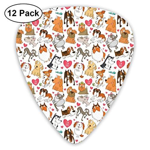 Guitar Picks 12-Pack,Cartoon Canines Bullterrier Doberman Husky Spaniel Love Theme Funny Characters -