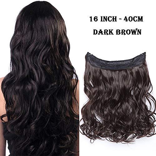 Extension con filo invisibile capelli mossi lunghi marrone - 40cm 16