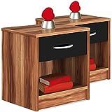 Nachttisch mit Schublade 2er Set Nachtkommode Kommode Beistellschrank Nachtkonsole Merano-Schwarz - weitere Modelle