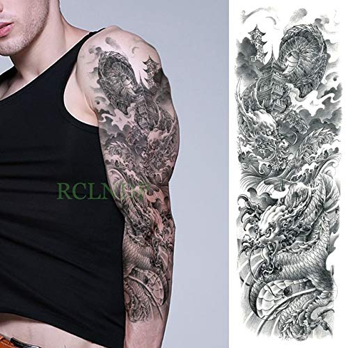 Handaxian 3pcsWaterproof Tattoo Sticker Tiger Lotus Voller Arm Große Ärmel Männer und Frauen Mädchen 3pcs-8 -