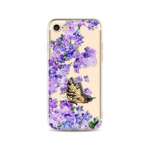 Coque iPhone 5 5s Housse étui-Case Transparent Liquid Crystal en TPU Silicone Clair,Protection Ultra Mince Premium,Coque Prime pour iPhone 5 5s-Le Papillon-style 4 19