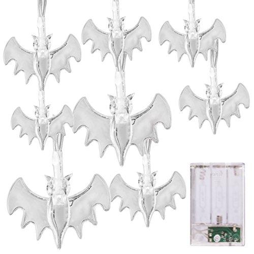 Halloween Lichterkette LED Schnurlicht 20 LEDs Geist Licht für Außen Weihnachten Halloween Party Park Fest Deko,Weiß (Blau Bat)