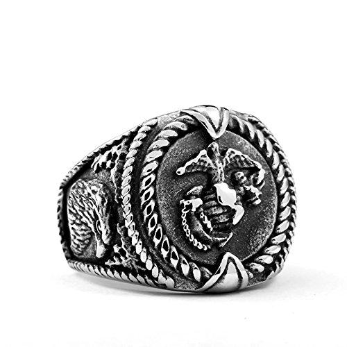 (Beydodo Gothic Ring Titan für Männer Adler Punk Ring Silber Partnerring Größe 62 (19.7))