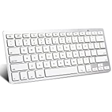 omoton ultra-delgado Bluetooth teclado para Samsung Galaxy Tab Series, Galaxy Note Series Tablet y otros dispositivos Android, Color blanco