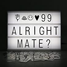 LEORX Caja de luz cinematográfica LED Lightbox Tamaño A4 con 175 letras negras
