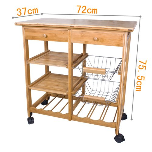 SoBuy FKW06-N, Kitchen Trolley with Shelves amp; Drawers, Hostess Trolley, Kitchen Island, 72x 37 x 77.5cm, Bamboo