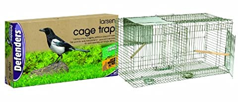 Defenders Magpie Cage Trap (Easy Assembly Humane Trap with Transport Handle, Sun-Shade and Single Side-Entry Door) - Flat Pack