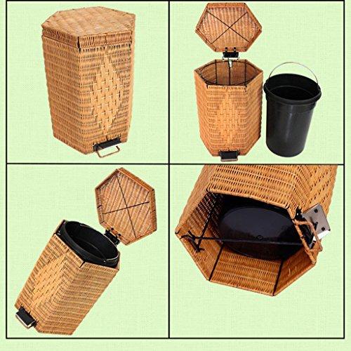 Müllentsorgung HSJ Rattan Hause Wohnzimmer Badezimmer Fuß Typ kleine große Mülleimer mit Deckel Mini kreative Papierkorb (Farbe : Braun, größe : 20L)
