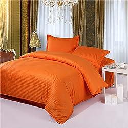 Zhiyuan 100% algodón funda nórdica y 2 fundas de almohada con rayas, Naranja, 220x240cm