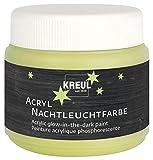 Kreul 74347 - Acryl Nachtleuchtfarbe, nachtleuchtende Acrylfarbe auf Wasserbasis mit pastosem Charakter, cremig deckend, schnelltrocknend und wasserfest, 150 ml Kunststoffdose, nachtleuchtgelb