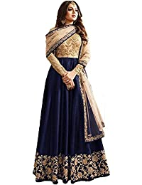 4fashion Empire Blue Banglory Silk ANd Net Womens Long Anarkali Suit (4Fashion EmpireERRR801_Blue_Free Size)