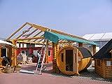 JUNIT RBP14,6x6m, H.2,7-3m Rundbohlen Pavillon Gartenpavillon Carport Massivholz 20cm Baumstäme