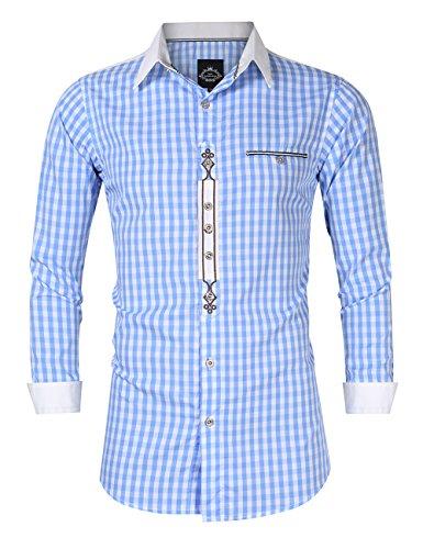 KOJOOIN Trachtenhemd Herren kariert Freizeithemd Landhausstil Langarmhemd Slim fit Hemd Bestickt Baumwolle - für Oktoberfest, Business, Freizeit Blaue Stickerei S-34