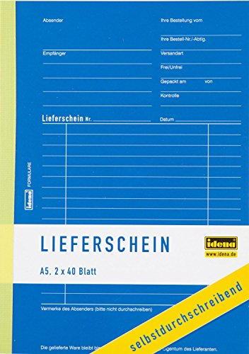Idena 314254 - Lieferscheinbuch, selbstdurchschreibend, 1. Blatt weiß, 2. Blatt gelb, perforiert, gelocht, holzfreies Papier, DIN A5, 2 x 40 Blatt